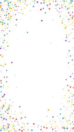 Festive classic confetti. Celebration stars. Colorful confetti on white background. Favorable festive overlay template. Vertical vector background.