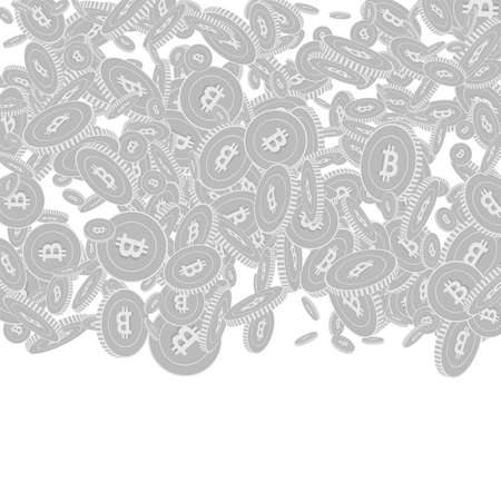 Bitcoin, internet currency coins falling. Scattered black and white BTC floating coins. Jackpot or success concept. Alluring top gradient square vector illustration.