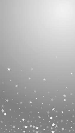 Random falling stars Christmas background. Subtle flying snow flakes and stars on grey background. Appealing winter silver snowflake overlay template. Original vertical illustration.