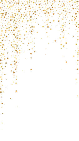 Gold stars luxury sparkling confetti. Scattered small gold particles on white background. Eminent festive overlay template. Fresh vector background.