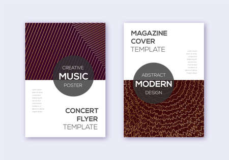 Modern cover design template set. Gold abstract lines on bordo background. Exceptional cover design. Awesome catalog, poster, book template etc.