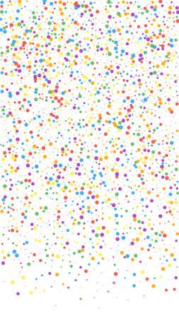 Festive flawless confetti. Celebration stars. Colorful confetti on white background. Grand festive overlay template. Vertical vector background. 向量圖像
