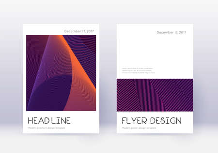 Minimal cover design template set. Violet abstract lines on dark background. Dramatic cover design. Great catalog, poster, book template etc.