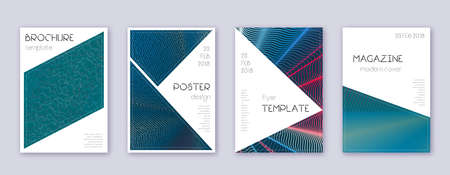 Triangle brochure design template set. Red abstract lines on white blue background. Breathtaking brochure design. Posh catalog, poster, book template etc.