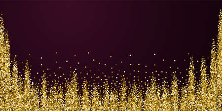 Gold glitter luxury sparkling confetti. Scattered small gold particles on red maroon background. Beautiful festive overlay template. Beauteous vector illustration.