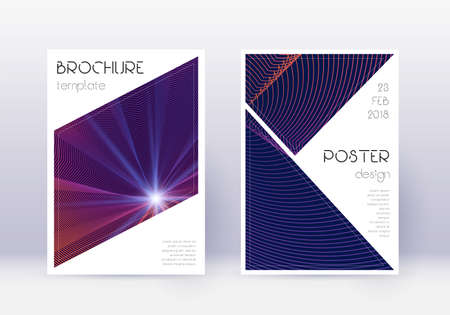 Triangle cover design template set. Violet abstract lines on dark background. Immaculate cover design. Memorable catalog, poster, book template etc.