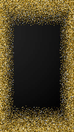 Gold triangles glitter luxury sparkling confetti. Scattered small gold particles on black background. Enchanting festive overlay template. Sightly vector background.