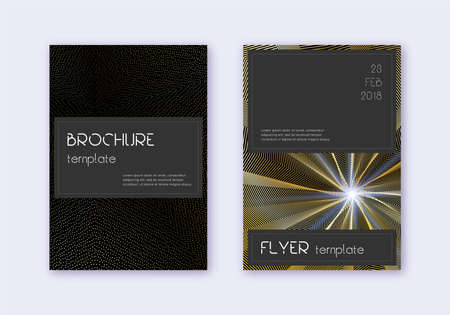 Black cover design template set. Gold abstract lines on black background. Alive cover design. Wondrous catalog, poster, book template etc.