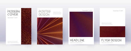 Minimal brochure design template set. Orange abstract lines on wine red background. Appealing brochure design. Sightly catalog, poster, book template etc.