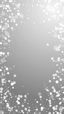 Magic stars sparse Christmas background. Subtle flying snow flakes and stars on grey background. Admirable winter silver snowflake overlay template. Mind-blowing vertical illustration.