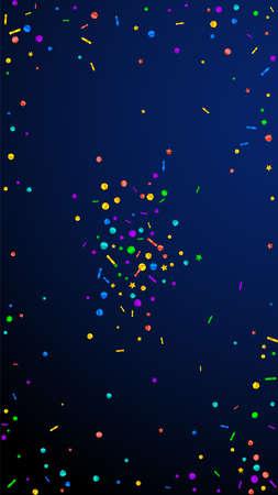 Festive imaginative confetti. Celebration stars. Festive confetti on dark blue background. Flawless festive overlay template. Vertical vector background.