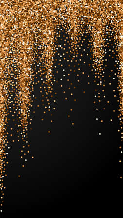 Red round gold glitter luxury sparkling confetti. Scattered small gold particles on black background. Eminent festive overlay template. Lively vector background.