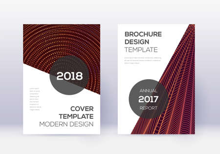Modern cover design template set. Orange abstract lines on wine red background. Extraordinary cover design. Imaginative catalog, poster, book template etc.