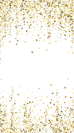 Gold triangles luxury sparkling confetti. Scattered small gold particles on white background. Emotional festive overlay template. Ecstatic vector background.