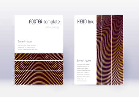 Geometric cover design template set. Gold abstract lines on maroon background. Beautiful cover design. Favorable catalog, poster, book template etc.