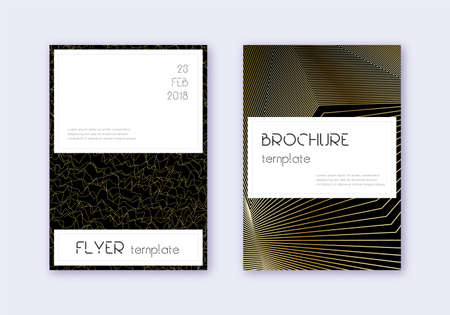 Stylish cover design template set. Gold abstract lines on black background. Favorable cover design. Bizarre catalog, poster, book template etc.