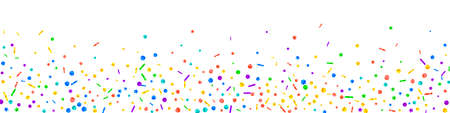 Festive popular confetti. Celebration stars. Festive confetti on white background. Adorable festive overlay template. Panoramic vector background.