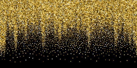 Gold glitter luxury sparkling confetti. Scattered small gold particles on black background. Awesome festive overlay template. Fetching vector illustration.