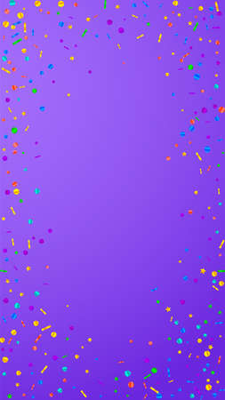 Festive modern confetti. Celebration stars. Festive confetti on violet background. Fetching festive overlay template. Vertical vector background.