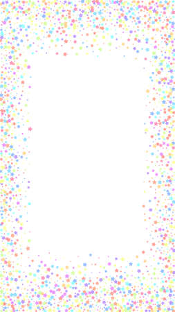 Festive breathtaking confetti. Celebration stars. Colorful stars on white background. Graceful festive overlay template. Vertical vector background.