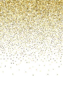 Gold triangles glitter luxury sparkling confetti. Scattered small gold particles on white background. Excellent festive overlay template. Fancy vector background. Ilustração