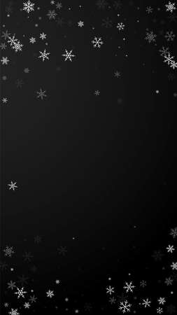 Sparse snowfall Christmas background. Subtle flying snow flakes and stars on black background. Alluring winter silver snowflake overlay template. Posh vertical illustration. Ilustração