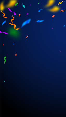 Streamers and confetti. Colorful streamers tinsel and foil ribbons. Confetti falling rain on dark blue background. Beautiful party overlay template. Remarkable celebration concept.