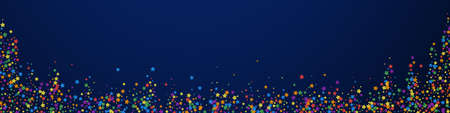Festive delicate confetti. Celebration stars. Rainbow bright stars on dark blue background. Adorable festive overlay template. Panoramic vector background.