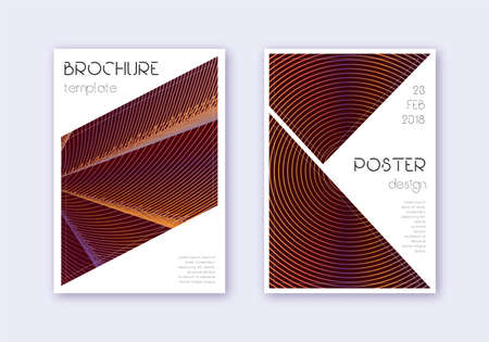 Triangle cover design template set. Orange abstract lines on wine red background. Imaginative cover design. Amazing catalog, poster, book template etc.