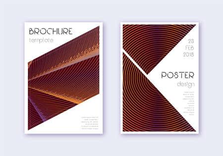 Triangle cover design template set. Orange abstract lines on wine red background. Imaginative cover design. Amazing catalog, poster, book template etc. Ilustração