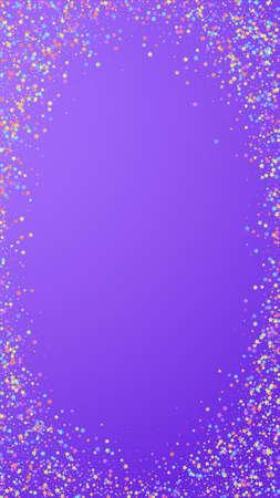 Festive majestic confetti. Celebration stars. Colorful stars small on violet background. Favorable festive overlay template. Vertical vector background.