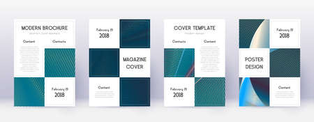 Business brochure design template set. Red abstract lines on white blue background. Alive brochure design. Dazzling catalog, poster, book template etc.