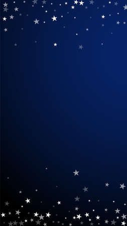 Random falling stars Christmas background. Subtle flying snow flakes and stars on dark blue background. Admirable winter silver snowflake overlay template. Sublime vertical illustration.