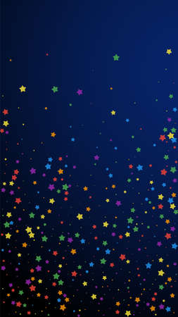 Festive valuable confetti. Celebration stars. Joyous stars on dark blue background. Gorgeous festive overlay template. Vertical vector background.