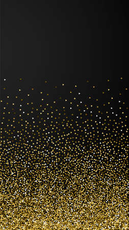 Gold triangles glitter luxury sparkling confetti. Scattered small gold particles on black background. Excellent festive overlay template. Mind-blowing vector background.