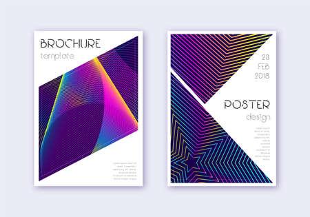 Triangle cover design template set. Rainbow abstract lines on dark blue background. Imaginative cover design. Great catalog, poster, book template etc. Ilustração