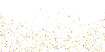 Gold stars random luxury sparkling confetti. Scattered small gold particles on white background. Beautiful festive overlay template. Majestic vector illustration. Ilustração
