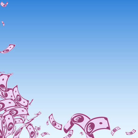 European Union Euro notes falling. Messy EUR bills on blue sky background. Europe money. Alluring vector illustration. Unusual jackpot, wealth or success concept.