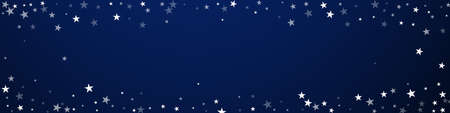 Random falling stars Christmas background. Subtle flying snow flakes and stars on dark blue background. Brilliant winter silver snowflake overlay template. Rare panoramic illustration. Ilustração
