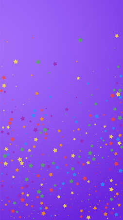 Festive vibrant confetti. Celebration stars. Joyous stars on violet background. Gorgeous festive overlay template. Vertical vector background. Ilustração