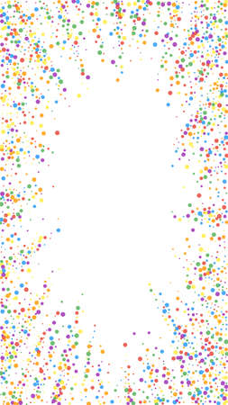 Festive powerful confetti. Celebration stars. Rainbow confetti on white background. Fetching festive overlay template. Vertical vector background.