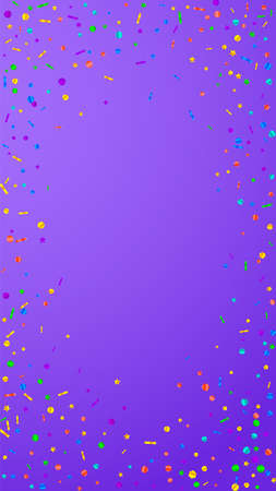 Festive unusual confetti. Celebration stars. Festive confetti on violet background. Fascinating festive overlay template. Vertical vector background.