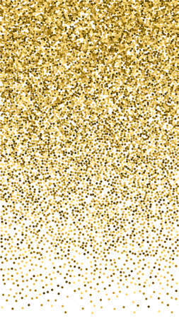 Round gold glitter luxury sparkling confetti. Scattered small gold particles on white background. Exceptional festive overlay template. Adorable vector background. Ilustração