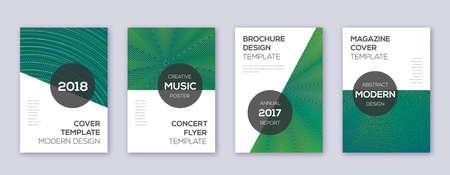 Modern brochure design template set. Green abstract lines on dark background. Awesome brochure design. Imaginative catalog, poster, book template etc. Ilustração