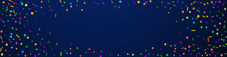 Festive memorable confetti. Celebration stars. Festive confetti on dark blue background. Amazing festive overlay template. Panoramic vector background.