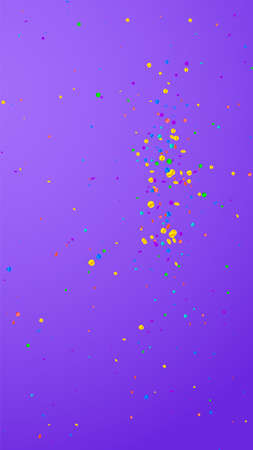 Festive admirable confetti. Celebration stars. Bright confetti on violet background. Flawless festive overlay template. Vertical vector background. Ilustração