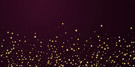 Gold stars random luxury sparkling confetti. Scattered small gold particles on red maroon background. Brilliant festive overlay template. Creative vector illustration.