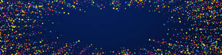 Festive pleasant confetti. Celebration stars. Rainbow confetti on dark blue background. Amazing festive overlay template. Panoramic vector background. Ilustração