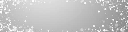 Magic stars sparse Christmas background. Subtle flying snow flakes and stars on grey background. Captivating winter silver snowflake overlay template. Actual panoramic illustration. Ilustração