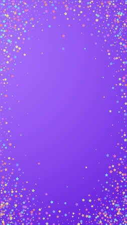 Festive comely confetti. Celebration stars. Colorful stars on violet background. Favorable festive overlay template. Vertical vector background. Ilustração